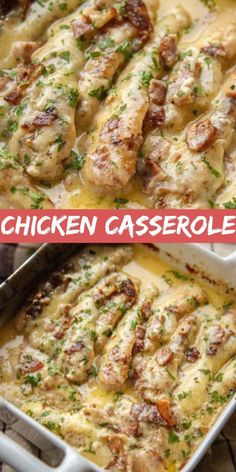 Baked Chicken Recipes, Bacon Recipes, Cooking Recipes, Recipes With Chicken Fillets, Chicken Beast Recipes, Risotto Chorizo Thermomix, Casserole Dishes, Casserole Recipes, Chicken Breast With Bacon
