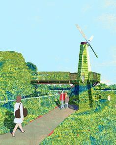 An experimental piece. #illustration #illustrator #green #windmill #girl #cute #swamp #sky #blue #japan #tokyo #grass #weed #tiver #creek #creepy #stream