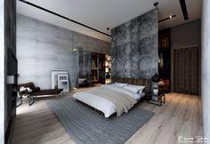 chambre adulte design en gris avec déco murale aspect bois grisâtre, tapis gris et parquet