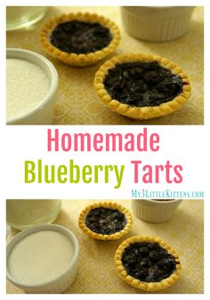 Try these Homemade Blueberry Tarts Recipe. They make a fresh, quick and delicious treat! Blackberry Tart Recipes, Mini Blueberry Tarts, Easy Tart Recipes, Mini Pie Recipes, Blueberry Recipes, Fruit Recipes, Dessert Recipes, Dessert Tarts Mini, Mini Fruit Tarts