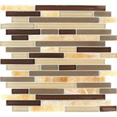 MS International, Honey Caramel Interlocking 12 in. x 12 in. Pattern Glass Wall Tile, THDW3-SH-HCI-8M at The Home Depot - Mobile