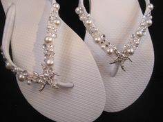 NEW 2013 So Sweet Bride Shoshanna Starfish Pearl and Swarovski Crystal Bridal Wedding Flip Flops. $34.95, via Etsy.
