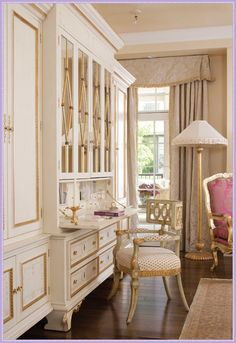 Interior design by: Ingrid Fretheim As featured in: Colorado Homes & Lifestyles Photos: Emily Minton Redfield -- consider painting furniture white and gold. Desk Layout, Colorado Homes, Custom Cabinetry, Elegant Homes, My Dream Home, Home Office, Office Decor, Living Spaces, Work Spaces
