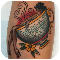 Relaxing lady in tea cup by becca genné-bacon The End Is Near/Hand Of Glory Tattoo Brooklyn