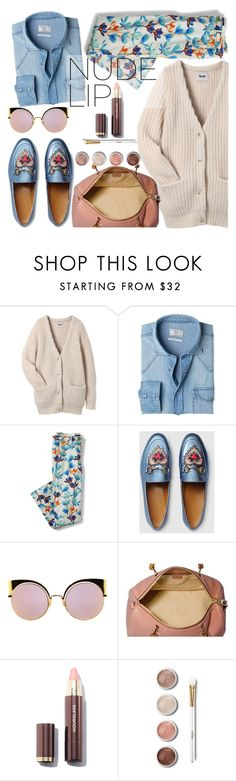 """""""Nude Mood"""" by bagsaporter ❤ liked on Polyvore featuring beauty, Acne Studios, MANGO, Lands' End, Gucci, Fendi, Terre Mère and plus size clothing"""