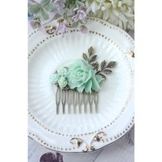 Mint Flower Hair Comb. Shades of Mint Wedding, Bridesmaid Gifts,... ($29) ❤ liked on Polyvore featuring accessories, hair accessories, mint green hair accessories, bride hair accessories, hair comb accessories, bridal hair accessories and flower hair comb