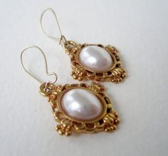 Vintage 80s Traditional Preppy Signed Napier Goldtone Faux Pearl Dangle Earrings by ThePaisleyUnicorn, $3.00