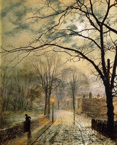 A Moonlit Stroll, Bonchurch, Isle of Wight, 1878, John Atkinson Grimshaw. (1836 - 1893)