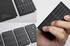 guitarist business cards with thermographed design
