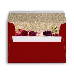 Shop Burgundy Red Floral Modern Gold Glitter Wedding Envelope created by myinvitation. Gold Envelopes, Custom Printed Envelopes, Wedding Envelopes, Wedding Stationery, Wedding Invitations, Elegant Bridal Shower, Elegant Wedding, Gold Glitter Wedding, 10 Envelope