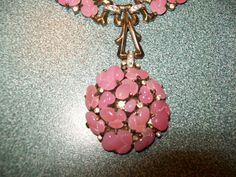 Crown Trifari, Pink Acorn Fruit Salad Cabochon & Rhinestone Necklace, Alfred Philippe 1948.