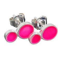 SCHERNING porcelænssmykker - COLOURING ørestikkere, dobbelt, neon pink