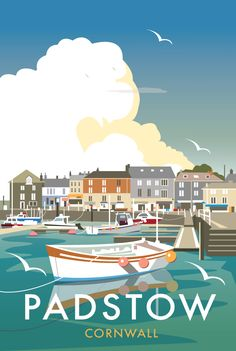 Vintage Travel Poster - Padstow Harbour - Cornwall - by Dave Thompson, Posters Uk, Vintage Films, Railway Posters, Vintage Travel Posters, Beach Posters, Poster Retro, Gig Poster, British Seaside, Tourism Poster