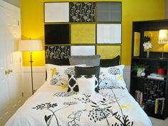 When choosing a headboard, pick one bright color as your inspiration. RMS user sford used yellow, black and white pieces of fabric and old frames to create a fun, dramatic effect in her bedroom.