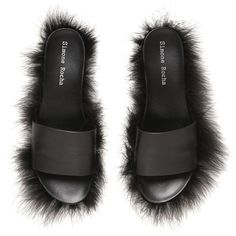 f2e8d2267418a1 SIMONE ROCHA 10mm Fluffy Leather Slide Sandals - Black ( 325) ❤ liked on  Polyvore