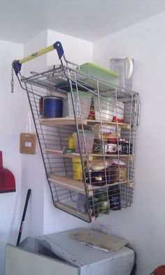 Use A Shopping Cart As A Shelf If You Have No Money For The Furnishings
