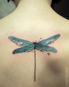 Dragonfly tattoo by Ester Tarabal.  Design by Conrad Roset. #tattoo #dragonfly #watercolour