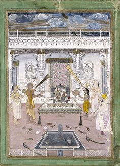 Krishna Radha shrine. c.1760. Maharaja Madho Singh of Jaipur (r.1751-68) is identified by an inscription on the right side of this painting. The shrine is attended by four brahmins (who are also named in individual inscriptions) bearing fans and lamps. The delicate colouring of the painting and the sensitive treatment of the faces suggest that it was done in Kishangarh rather than in Jaipur.~V&A Museum.