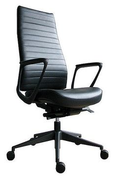 Mind your posture in this high-back executive chair. Easily adjustable and rolls on 5 canisters.