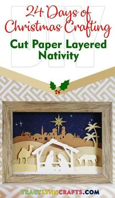 Shadowbox Nativity Scene- You can add this cut paper nativity scene to your Christmas decor to use year after year Paper Christmas Decorations, Christmas Paper Crafts, Christmas Projects, Holiday Crafts, Cricut Christmas Cards, Christmas Shadow Boxes, 3d Christmas, Diy Christmas Nativity Scene, Christmas Christmas