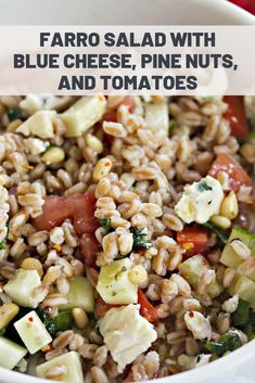 Farro Salad With Blue Cheese, Pine Nuts, and Tomatoes Carrot Recipes, Lunch Recipes, Healthy Recipes, Farro Salad, Grain Bowl, Healthy Grains, Serious Eats, Salad Ingredients, Side Salad