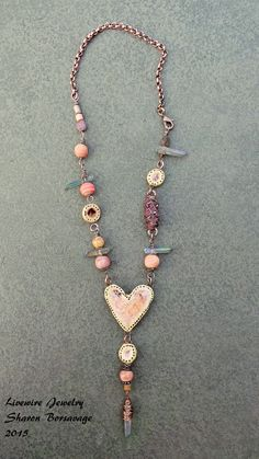 RESERVED for DAWN H. Ceramic Heart Necklace by livewirejewelrysb