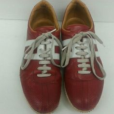 Bally Sneakers Red leather Bally sneakers with white trim.  Pre-owned. Bally Shoes Sneakers