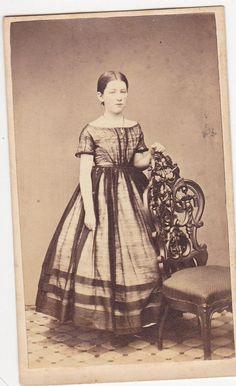 Original Civil War era CDV Sweet girl in hoop skirt dress Sheer black overdress