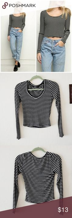 Brandy Melville Striped Long Sleeve SemiCrop Top Brandy Melville Striped Long Sleeve Semi Crop Top. Like New Condition. Size S. Mostly Viscose and Cotton, meaning super soft and comfortable!   Length 17in Chest flatlay 13in Sleeve 22.5 in  Offers Welcome Ships 1-3 Days Bundle for a Discount Brandy Melville Tops Crop Tops