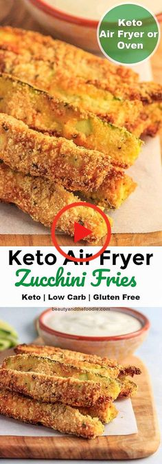 Keto Air Fryer Zucchini Fries Beauty and the Foodie Zucchini Chips, Zucchini Pommes, Low Carb Zucchini Fries, Zucchini Sticks, Zucchini Boats, Air Fryer Dinner Recipes, Air Fryer Recipes Easy, Keto Foods, Paleo Diet