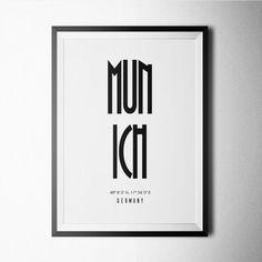 Munich Print, poster, capital, city, minimal, black and white, city print, black…
