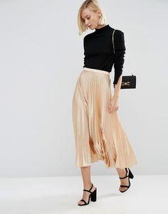 Midi Skirt in Pleated Satin | ASOS
