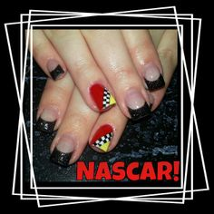 Nascar gel checker yellow nails- one nail only