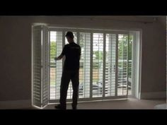 How Top Open And Close Track Mounted Plantation Window Shutters Fitted On A Patio  Door
