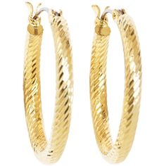 Brooks Brothers Gold Twisted Small Hoop Earrings found on Polyvore