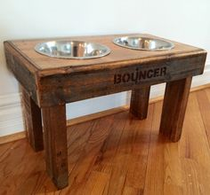 Recycled pallet dog stand pet feeding station with 2 by Kustomwood