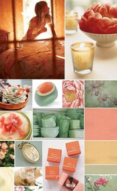 Coral, Green, Gold