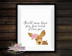You are my Sunshine DEER Floral 8x10 Printable Instant Download Print Wall Art Rustic Woodland Woods Baby Girl Room Nursery Home Decor by CottageMoonDesign on Etsy
