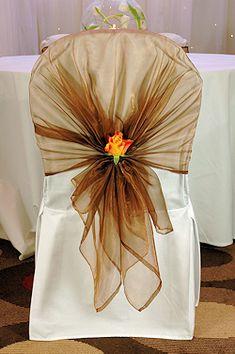 Chair Cover Bows sheer organza roll | chair sashes