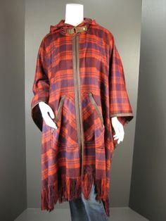 Tracy Reese Poncho, Crimson Hooded Plaid Poncho NWT $149.00