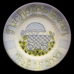 """A Personalized Hand Painted """"Baby Carriage"""" Ceramic Plate for Newborn Girl or Boy by LittleBugCeramics.com, $63.00"""