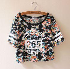 2014 Retail New Women Summer sexy Cotton Short print number Sleeve Vintage Print Cute T Shirt girl Letter Flower t shirts tops $12.98