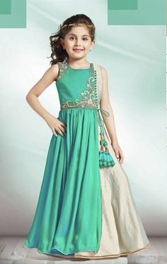 Beautiful Indian Fashion for children. Indian Fashion for young girls. Indian Fashion for children. @ source unknown via Kids Party Wear Dresses, Baby Girl Party Dresses, Dresses Kids Girl, Kids Frocks, Frocks For Girls, Gowns For Girls, Diwali Dresses, Dress Anak, Baby Dress Design