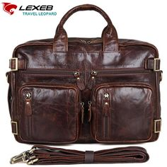 Laptop Trolley Bag LEXEB Brand Multi-Function Genuine Leather Travel Bags Hand Luggage Men's Large Capacity Business Totes