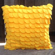 Canary  Yellow Fleece Pillow / Circle Pillow / Modern by ReeesaT