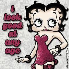 I look good at any age ➡ More Betty Boop Graphics & Greetings: http://bettybooppicturesarchive.blogspot.com/ - #BettyBoop wearing a red sequined dress