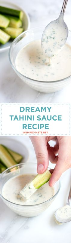 Use this lemony, garlicky tahini sauce on anything — try it as a salad dressing, drizzled over vegetables and meats, spread it onto bread or toast, or simply serve as a dip. Recipe on inspiredtaste.net | @inspiredtaste