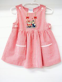 Vintage Baby Clothes Baby Dress Red Gingham by OnceUponADaizy