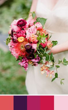 Bouquet with Jewel tones and the more muted cayenne. Source: Once Wed #cayenne #jeweltones #bouquet