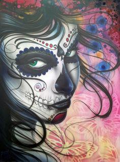 dia de los muertos art | Dia De Los Muertos Chica Painting - Dia De Los Muertos Chica Fine Art ...